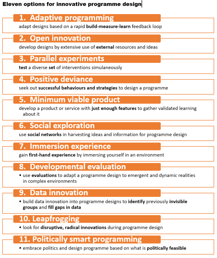 Eleven options for innovative programme design and planning